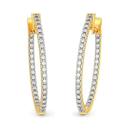 Or jaune 18 K 0,54 CT TW White-diamond (IJ | SI) Boucles d'oreilles créoles