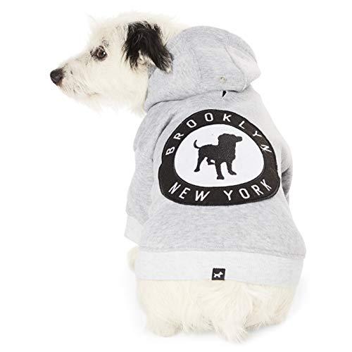 Hotel Doggy Brooklyn New York Fleece Dog Hoodie - Grey Cotton Polyester Dog Sweater Medium ()