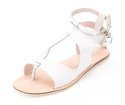 RUDSAK Women's 8214032 Leather Gladiator Sandals White/ Silver