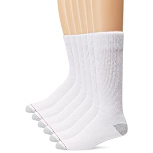 Hanes Men's 6 Pack FreshIQ Cushion Crew Socks, White, 10-13 (Shoe Size 6-12)