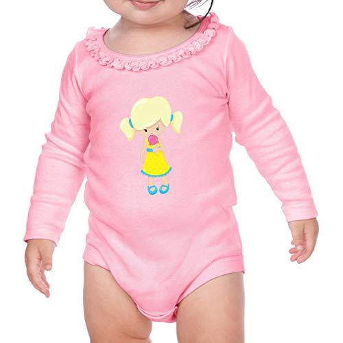 Girl Eats Ice Cream Blonde Long Sleeve Scoop Neck Girl Sunflower Cotton Baby Ruffle Bodysuit - Soft Pink, 18 ()