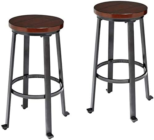 Ball Cast Bar Stools – 29 Inch, Set of 2, Rustic Brown