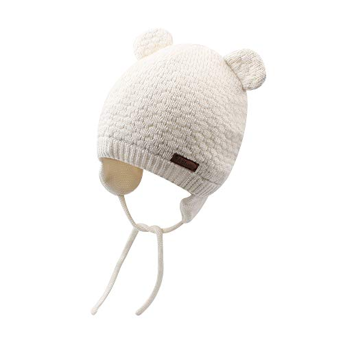 Cutegogo Baby Infant Earflap Beanie Hat Toddler Boys Girls Winter Warm Crochet Cap 0-24Months (White, ()