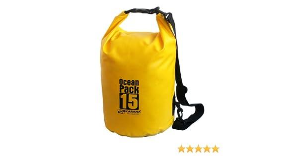karana Ocean Dry Pack Día Mochila Impermeable Bolsa de kayak 15 litros 15L Amarillo: Amazon.es: Ropa y accesorios