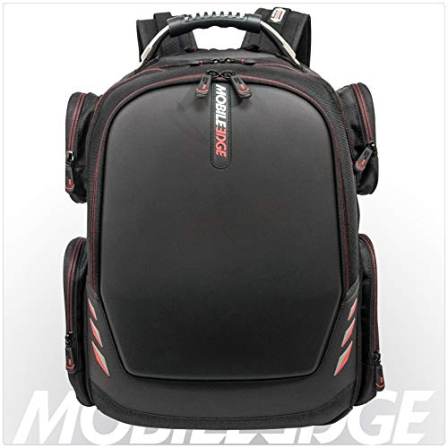 Mobile Edge Core Gaming 17-18 Inch Laptop Backpack, Molded Front Panel, Ext USB3.0 Quick-Charge Port, Built-in Charge Cable, Black w/Red MECGBP1