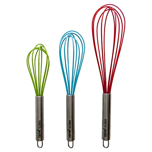 Hamptons Combo Unit (Silicone Kitchen 3 Whisk Set for Whisking, Blending, Beating, Stirring, Egg and Milk Frother, Eggbeater (Red: 12-inch, Blue: 10-inch, Green: 9-inch) by Depot Globe)