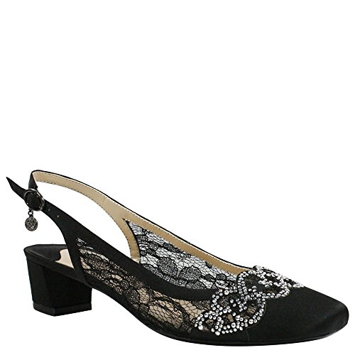 eece Low Block Heel Slingback,Black Lace/Satin,US 11 M ()