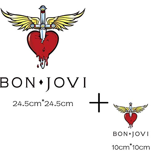 Stickers Stripes on Clothes Bon Jovi Patch Patchwork Needlework Sewing Heat-Resistant Clothing Dress Garment Application of One Another Iron Patches Applique Sewing Embroidery Stripe (Patch Jovi Bon)