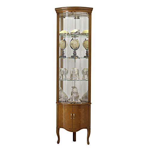 Panamar Glass Door Solid Wood Hardwood Corner Display Cabinet, Cherry ()