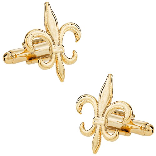 (Cuff-Daddy Fleur De Lis Cufflinks Gold-Tone New Orleans Mardi Gras with Presentation Box)