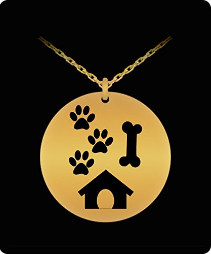Collie Gift Box (Dog Bone Necklace - 18k Gold Palted/Stainless Steel Engraved Paw Pendant - Great Gift Charm For Dog Lovers For Men and Woman)