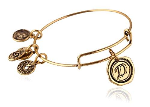 MBOX Expandable Antique Gold Tone,Antique Sliver Tone & Antique Bronze Letters Wire Bangle Bracelet (Antique Gold-D)