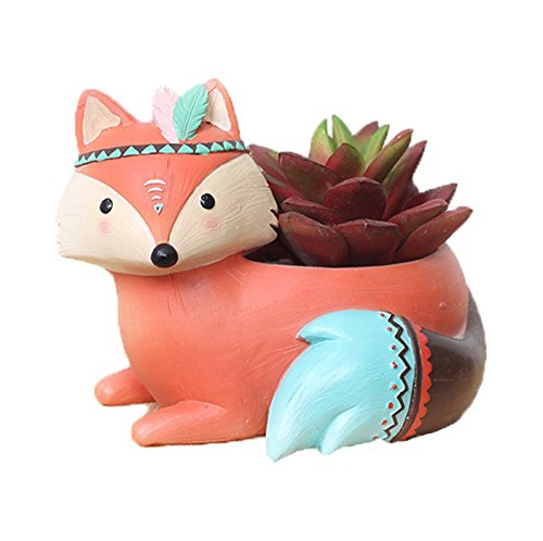 Youfui Home Decor Pot, Animal Succulent Planter Flowerpot for Home Office Desk Decoration (Charming Fox) (Flowers Office Decoration For)