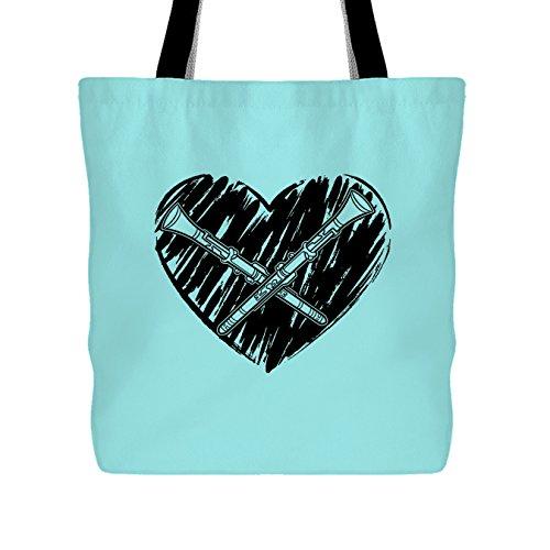 Love Clarinet Handbag, Tote Bag, Cool Bag (Light Green Tote Bag)