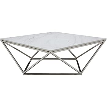 Nuevo Jasmine Marble Top Coffee Table   Polished Stainless Steel