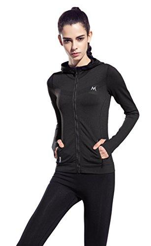 HonourSport Women's Stretchy Workout Dri-Fit Hooded Jacket Black, M Team Zipper