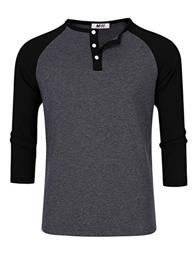 Kuulee MrWonder Men's Casual Slim Fit Raglan Baseball 3/4 Sleeve 3 Button Henley T-Shirts Deep Gray and Black M