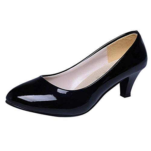 (Gogoodgo Women Leather Shoes Patent Shallow Mouth Single Shoes Business High Heels Pointed Shoes)