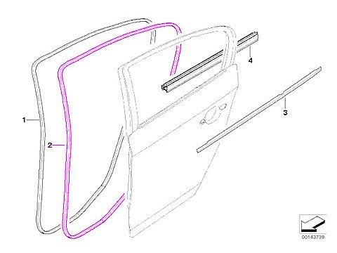 - BMW e90 SEDAN Door Seal weatherstrip L=R Rear OEM sealing rubber beading