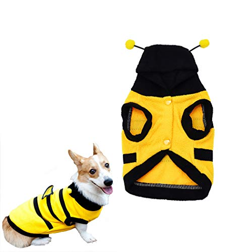 Petea Pet Costume Dog Bee Hoodie Clothes Puppy Cute Clothes for Dogs and Cats (S)