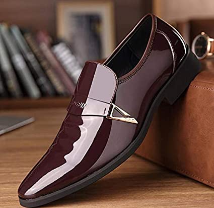 LOVDRAM Zapatos De Cuero para Hombre Luxury Men Formal Shoes Pointed Toe Office Business Wedding Patent Leather Oxford Shoes For Men Dress Boat Shoes