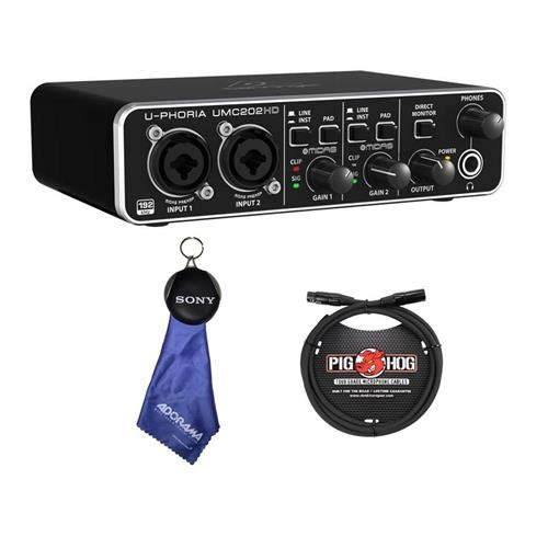 Behringer U-Phoria UMC202HD Audiophile 2x2 USB Audio Interface with Midas Mic Preamplifiers, 24-Bit/192kHz Resolution - with 6' 8mm XLR Microphone Cable, Fiber Optic Cleaning Cloth