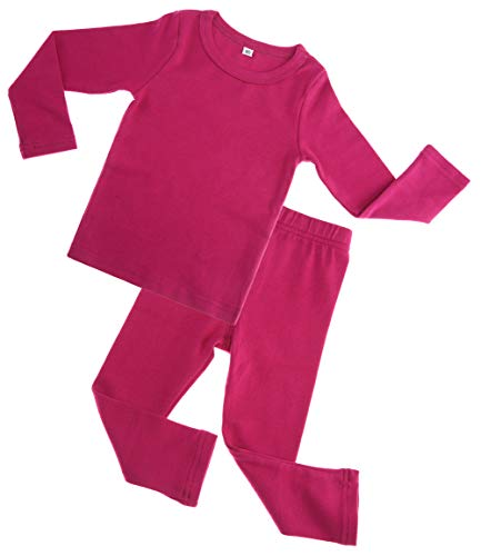 Kids Boy Girls Cotton Thermal Long Underwear Set Toddler Basic Layer Sleepwear Pajamas Set (Rose Red, 1-2 Years)