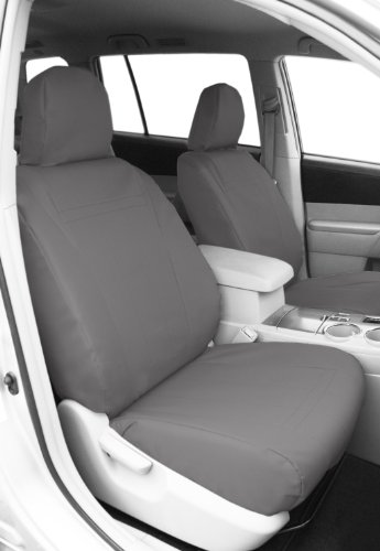 CalTrend Front Row Bucket Custom Fit Seat Cover for Select Toyota Highlander Models - DuraPlus (Light Grey) -
