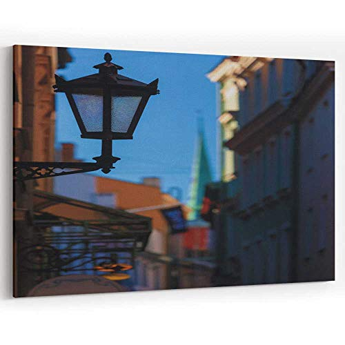 Actorstion Street lamp in The Center of Old Riga Canvas Art Wall Dcor for Modern Home Decor