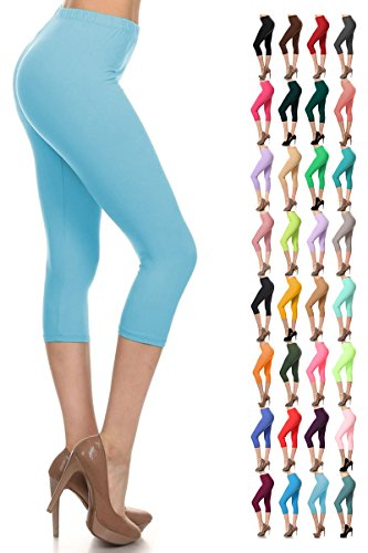 Leggings Depot Women's Popular Basic Capri Cropped Regular and Plus Solid High Waist Leggings (Plus (Size 12-24), Sky Blue)