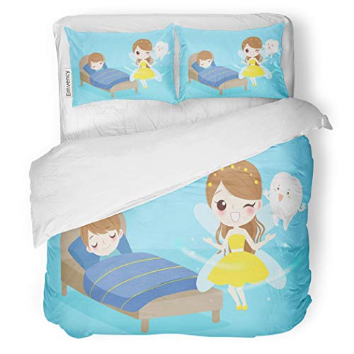 Set Beautiful Cute Cartoon Tooth Fairy Boy Sleeping Bad Decorative Bedding Set with 2 Pillow Cases Full/Queen Size ()