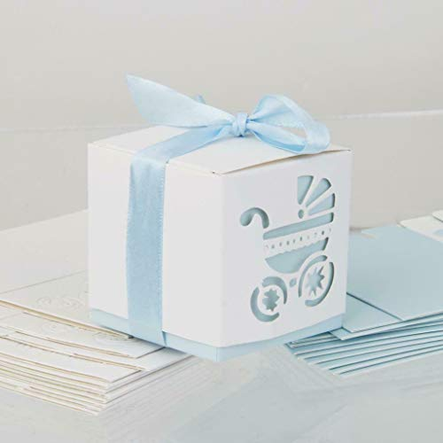 (BROSCO 12pcs Cute Baby Pram Candy Gift Sweets Boxes for Baby Shower Wedding Favor Decor | Color - Light Blue)