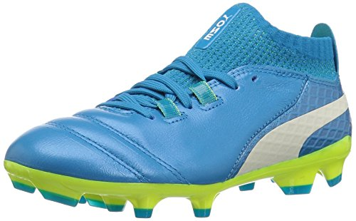 PUMA Unisex-Kids One 17.1 FG Jr Soccer Shoe, Atomic Blue White-Safety Yellow, 5.5 M US Big Kid by PUMA