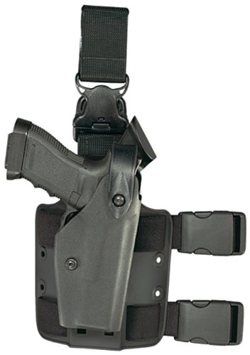 (Safariland 6005 Tactical Gun Holster, SLS Hood, Quick Release Leg Harness, Black, Left Handed, Taser X26)