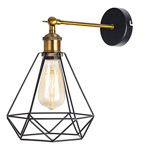 Industrial Vintage Cage Wall Light Iron Pyramid Wrought Home Lamp Suitable For E27 Bulbs 2