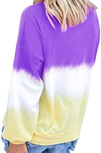 Eternatastic Women's Casual Color Block Tie Dye Crewneck Long Sleeve Loose Pullover Sweatshirt Tops