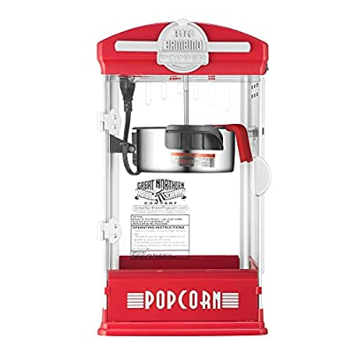 6076 Great Northern Red Big Bambino Table Top Retro Machine Popcorn Popper, 4 oz