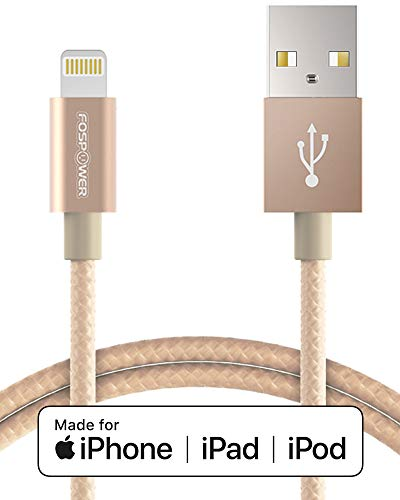 - FosPower [3 FT] Apple MFI Certified 8-pin Lightning to USB Cable [Nylon Braided | Full Speed Charging] Durable Built for iPhone XR, XS, XS MAX, X, iPad Pro Air 2 Mini 3, iPod Touch, Nano (Gold)