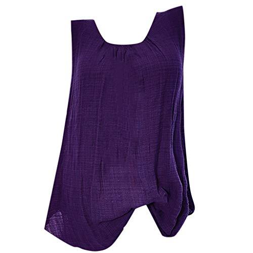 - NRUTUP Tank for Women Cotton Linen Sleeveless Baggy T-Shirt Loose Vest Tee Blouse Tops Plus Size Hot(Purple,XXXXXL)