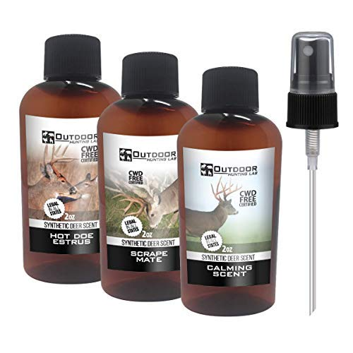 Outdoor Hunting Lab Synthetic Estrus, Scrape, Calming 3 Pack Pure Whitetail Hot Buck Lure Deer Attractant Urine Scent