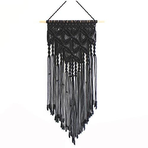 (Macrame Bohemian Boho Wedding Backdrop Natural Cotton Handmade Woven Macrame Wall Hanging Hanger Tapestry Art Garland Banner for Woven Home Decoration,Bedding,Wedding (black))
