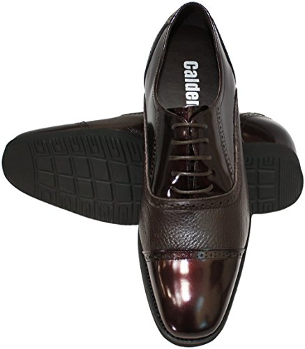 CALDEN - K320022 - 2.4 Inches Taller - Height Increasing Elevator Shoes-Dark Wine Leather Cap-toe FYIee3AQ