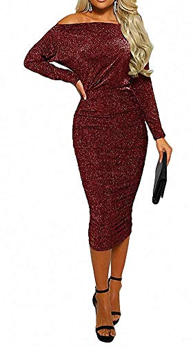 55a60c618ada OLUOLIN Womens Sexy Sparkly Glitter Long Sleeve One Off Shoulder Ruched  Sheath Irregular Midi Dress