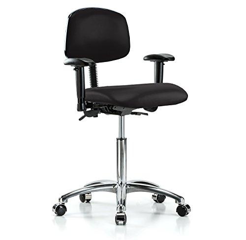 (PERCH Chrome Multi Task Swivel Chair with Wheels for Carpet or Linoleum, Workbench Height, Black Vinyl)