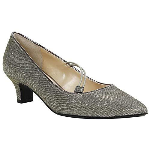 Pewter Glitter Footwear - J. Renee Women's Idenah Pewter Glitter Fabric 9 M US