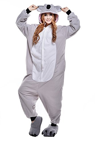 Costumes Borderlands 2 Cosplay (Unisex Adult Pajamas Plush One Piece Cosplay Grey Koala Animal Costume)