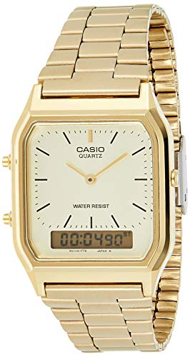 New Casio AQ230GA-9D Digital Analog Dual Time Metal Watch Multi Alarm Auto Calendar Water Resistant