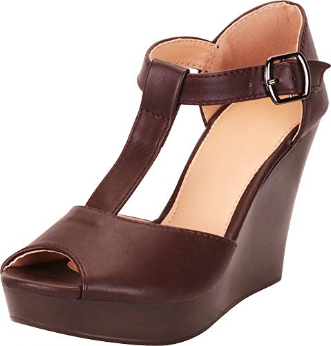 - Cambridge Select Women's Peep Toe T-Strap Chunky Platform Wedge Sandal,8.5 B(M) US,Chocolate PU