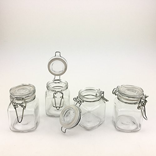 (Adorox 4 Piece Set Square Glass Jars Hinge Lid Rubber Gasket Clear Canisters food kitchen Storage (88.72 ml))