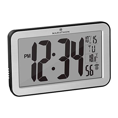 Marathon Commercial Grade Panoramic Atomic Wall Clock with Table Stand, Date, and Temperature - Self Setting/Self Adjusting - Batteries Included - CL030033SV (Brushed Stainless)